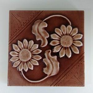 Vintage brown glazed floer floral tile